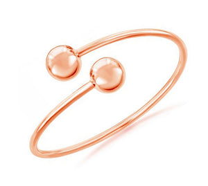 Sterling Silver Rose Gold Tone Double Ball Bangle Bracelet