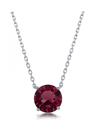 Sterling Silver 16 inch to 18 inch Adjustable Solitaire January Swarovski Crystal Necklace