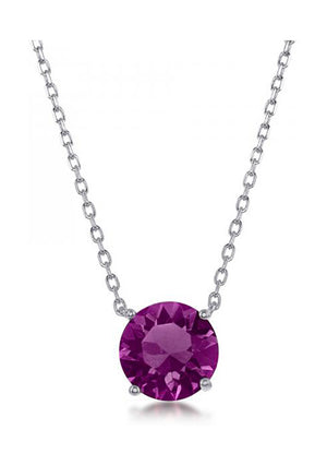 Sterling Silver 16 inch to 18 inch Adjustable Solitaire February Swarovski Crystal Necklace