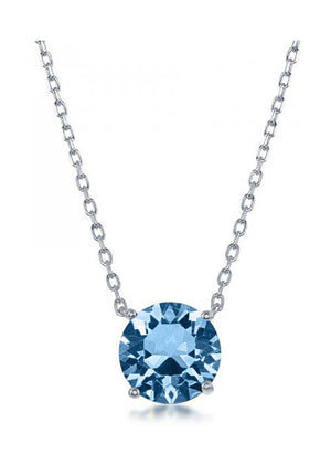 Sterling Silver 16 inch to 18 inch Adjustable Solitaire March Swarovski Crystal Necklace