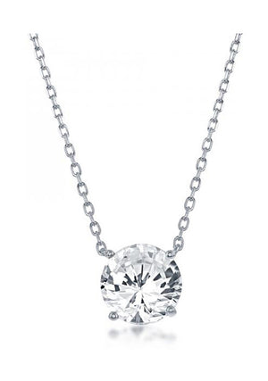 Sterling Silver 16 inch to 18 inch Adjustable Solitaire April Swarovski Crystal Necklace