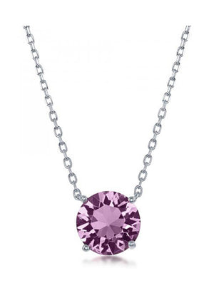Sterling Silver 16 inch to 18 inch Adjustable Solitaire June Swarovski Crystal Necklace