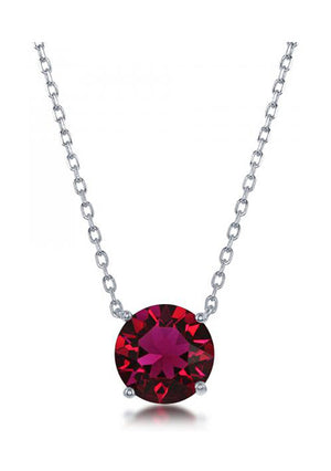 Sterling Silver 16 inch to 18 inch Adjustable Solitaire July Swarovski Crystal Necklace