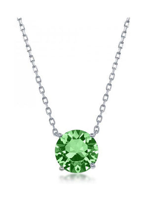 Sterling Silver 16 inch to 18 inch Adjustable Solitaire August Swarovski Crystal Necklace
