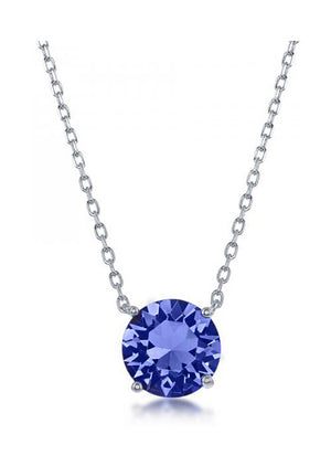 Sterling Silver 16 inch to 18 inch Adjustable Solitaire September Swarovski Crystal Necklace