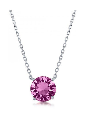 Sterling Silver 16 inch to 18 inch Adjustable Solitaire October Swarovski Crystal Necklace