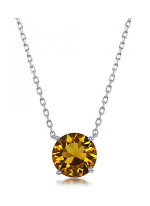 Sterling Silver 16 inch to 18 inch Adjustable Solitaire November Swarovski Crystal Necklace