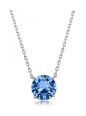 Sterling Silver 16 inch to 18 inch Adjustable Solitaire December Swarovski Crystal Necklace