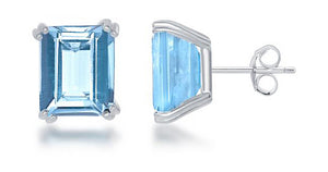 Sterling Silver Emerald Cut Blue Topaz Post Earrings