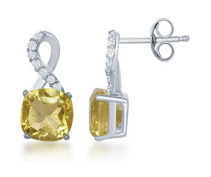 Sterling Silver Square Citrine Post Earrings with Half White Topaz Ribbon Loop Top