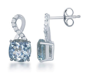 Sterling Silver Square Blue Topaz Post Earrings with Half White Topaz Ribbon Loop Top