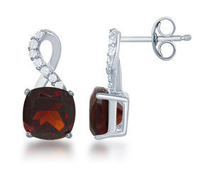 Sterling Silver Square Garnet Post Earrings with Half White Topaz Ribbon Loop Top
