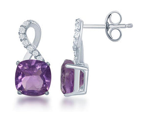 Sterling Silver Square Amethyst Post Earrings with Half White Topaz Ribbon Loop Top