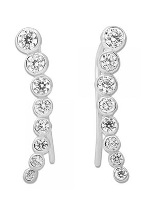 Sterling Silver Graduated Cubic Zirconia Ear Climber Pin Earrings