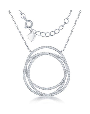 Sterling Silver 16 inch Triple Pave Cubic Zirconia Layered Circles Necklace