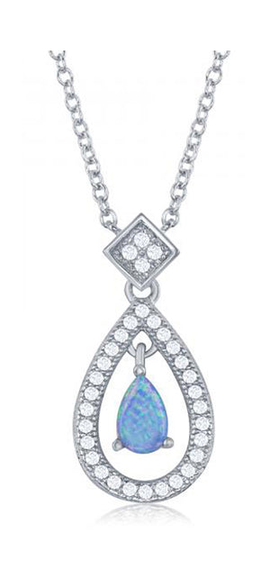 Sterling Silver 16 inch to 18 inch Adj Pave Cubic Zirconia Teardrop Necklace with Center Synthetic Opal