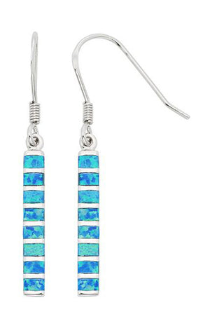 Sterling Silver Synthetic Opal Segmented Bar Dangle Earrings