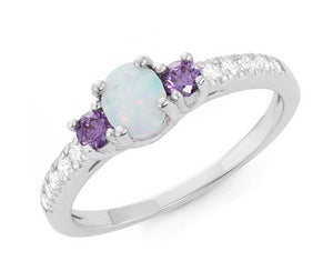 Sterling Silver Synthetic White Opal Ring with Purple Cubic Zirconia Stones and Pave Cubic Zirconia Accents