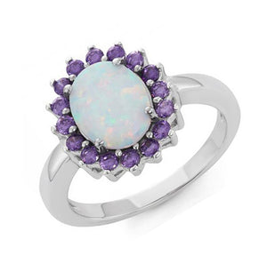 Sterling Silver Oval Synthetic White Opal Ring with Purple Cubic Zirconia Halo