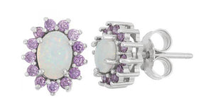 Sterling Silver Oval Synthetic White Opal Earrings with Purple Cubic Zirconia Halo