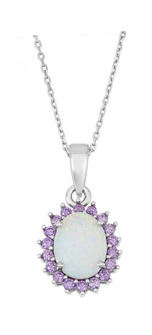 Sterling Silver Oval Synthetic White Opal Pendant with Purple Cubic Zirconia Halo