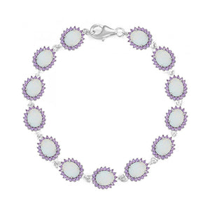 Sterling Silver 7.25 inch Synthetic Oval White Opal with Cubic Zirconia Halo Link Bracelet