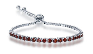 Sterling Silver 6 inch to 10 inch Adjustable Garnet Tennis Bracelet