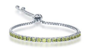 Sterling Silver 6 inch to 10 inch Adjustable Peridot Tennis Bracelet