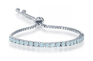 Sterling Silver 6 inch to 10 inch Adjustable Blue Topaz Tennis Bracelet