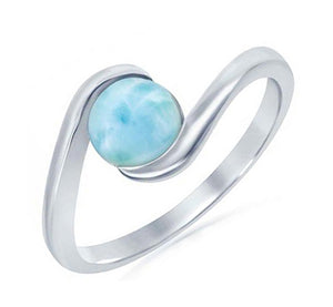Sterling Silver Round Larimar Cabochon Bypass Swirl Ring