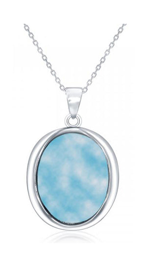 Sterling Silver Oval Larimar Pendant with High Polish Frame