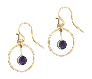 12 Karat Gold Filled Circle Dangle Earrings with Amethyst
