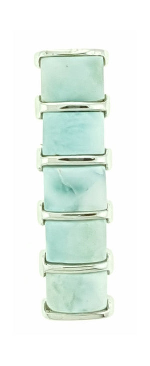 Sterling Silver Five Stone Larimar Curved Bar Pendant