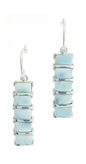 Sterling Silver Five Stone Larimar Curved Bar Earrings