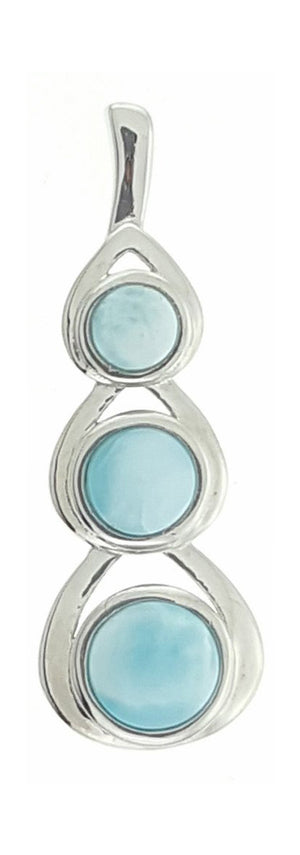 Sterling Silver Three Stone Cascading Round Larimar Pendant