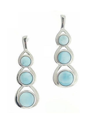 Sterling Silver Three Stone Cascading Round Larimar Earrings