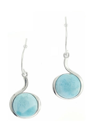 Sterling Silver Curve Earrings with Round Larimar Stone