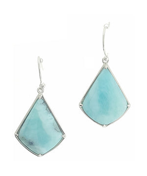 Sterling Silver Kite Shape Larimar Earrings