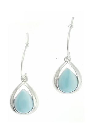 Sterling Silver Larimar Teardrop Earrings