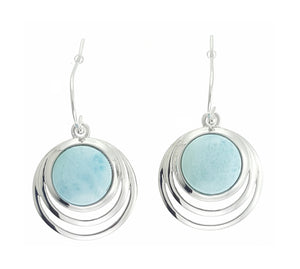 Sterling Silver Round Larimar Earrings with Echo Frame