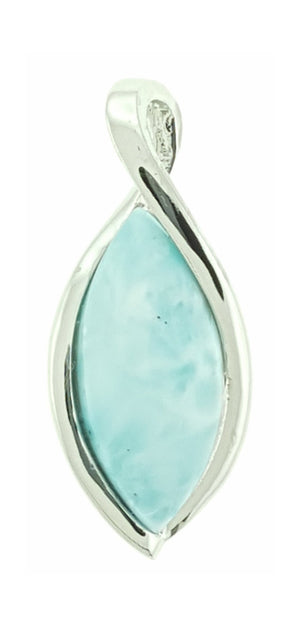 Sterling Silver Marquise Larimar Pendant with Twisted Loop Bail