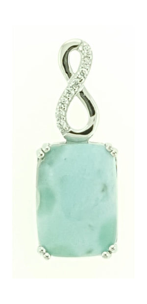 Sterling Silver Rectangle Larimar Pendant with Cubic Zirconia Infinity Bail