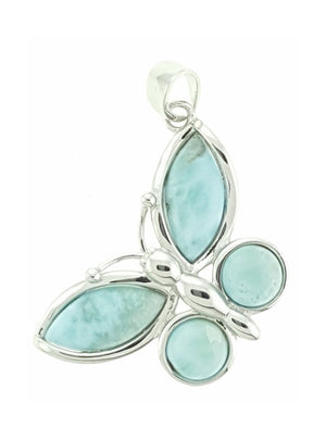 Sterling Silver Large Larimar Butterfly Pendant