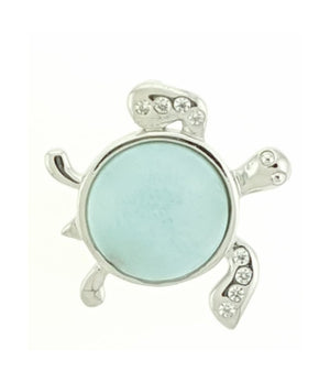 Sterling Silver Sideways Larimar Turtle Pendant with Cubic Zirconia Accents