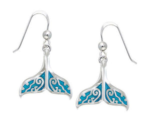 Sterling Silver Blue Whale Tale Earrings with Scroll Design