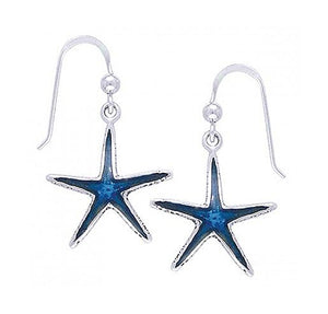Sterling Silver Royal Blue Starfish Earrings