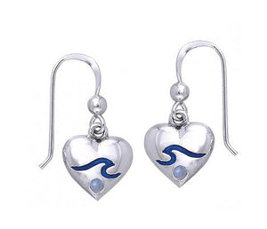 Sterling Silver Heart Earrings with Blue Wave and Rainbow Moonstone Accent Stone