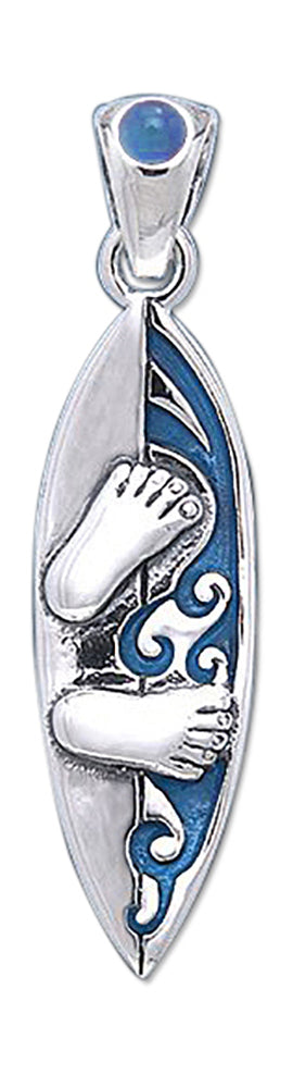 Sterling Silver Blue Surfboard Pendant with Footprints and Blue Topaz Accent Stone