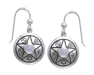 Sterling Silver Faiths Of the World Star Earrings with Moonstone