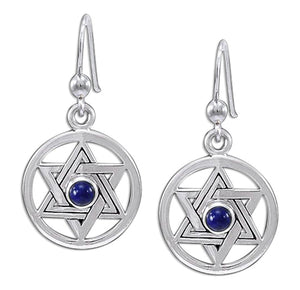 Sterling Silver Jewish Star Of David Earrings with Lapis